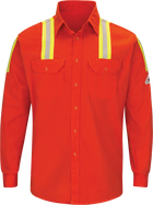 Men's Midweight FR Enhanced Visibility Uniform Shirt with Silver/Yellow Striping