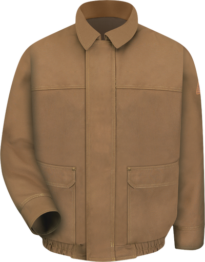 Men's Heavyweight FR Brown Duck Lined Bomber Jacket