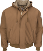 Men's Heavyweight FR Insulated Brown Duck Hooded Jacket