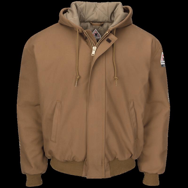 Men's Heavyweight FR Insulated Brown Duck Hooded Jacket