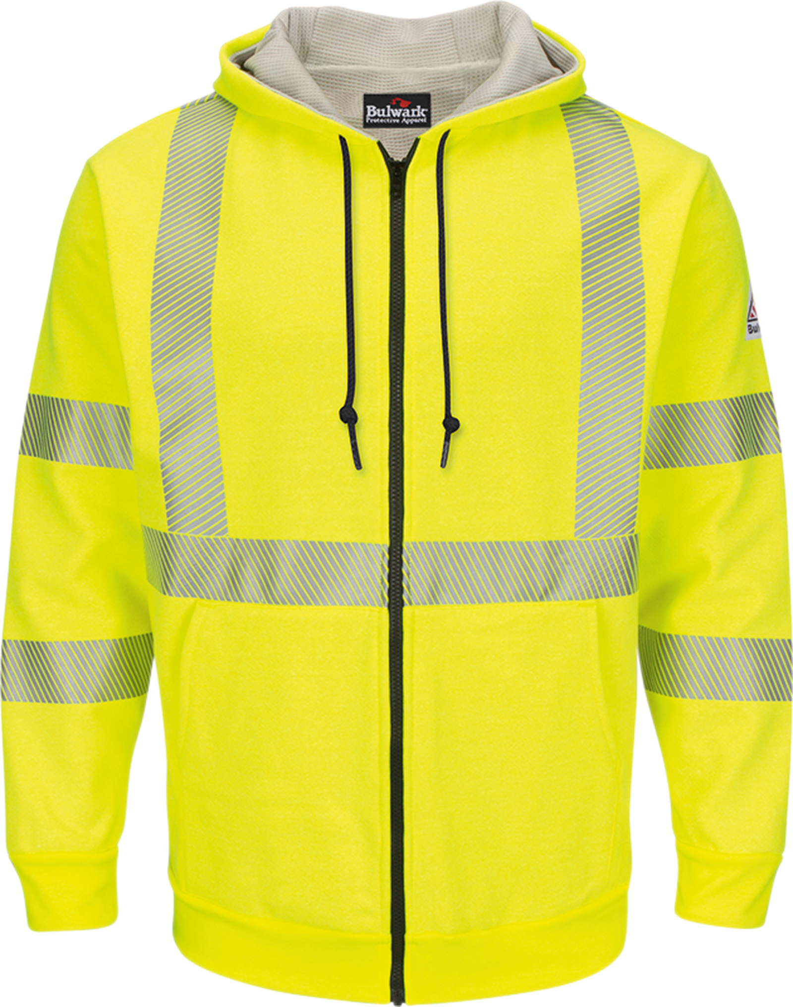 Men's Fleece FR Hi-Visibility Zip-Front Hooded Sweatshirt with Waffle Lining