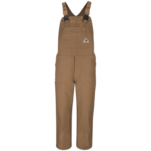 Men's Heavyweight FR Brown Duck Bib Overall with Knee Zip