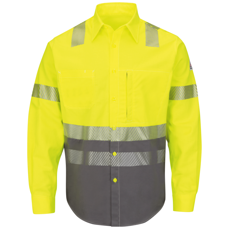 Men's Hi-Visibility Color-Block Uniform Shirt
