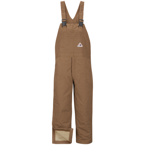 Men's Heavyweight FR Insulated Brown Duck  Bib Overall with Knee Zip