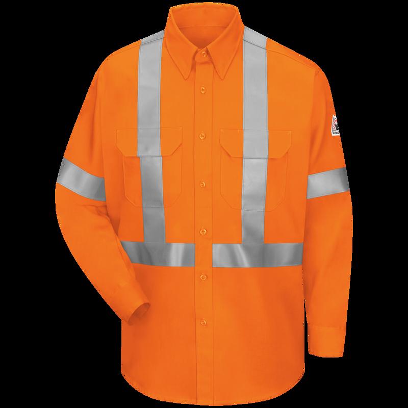 Men's Lightweight FR Enhanced Visibility Uniform Shirt with Reflective Trim