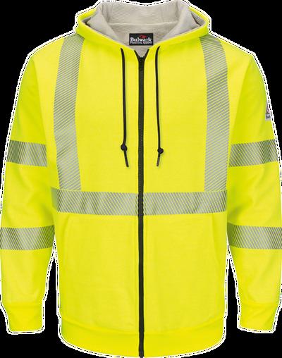 Men's Fleece FR Hi-Visibility Zip-Front Hooded Sweatshirt with Waffle Lining