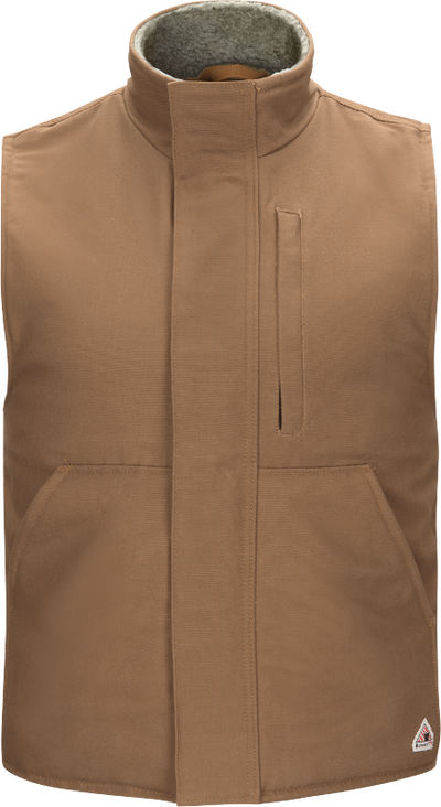 Men's Sherpa Lined Brown Duck Vest
