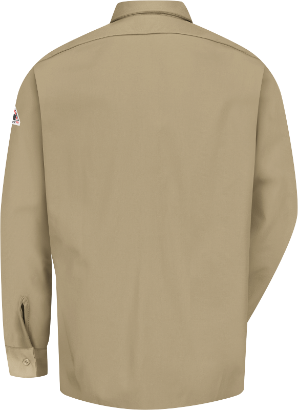 Bulwark X-Large Khaki Cotton Long Sleeve Flame Resistant Shirt With Button Closure