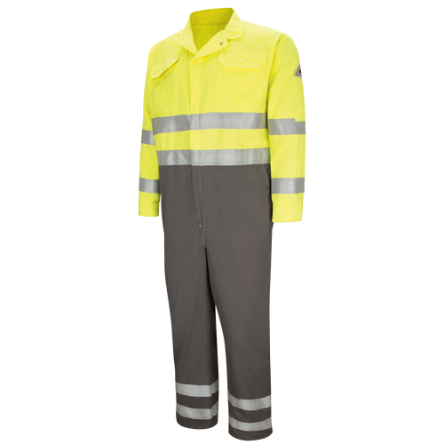 Men's Lightweight FR Hi-Visibility Deluxe Colorblocked Coverall with Reflective Trim