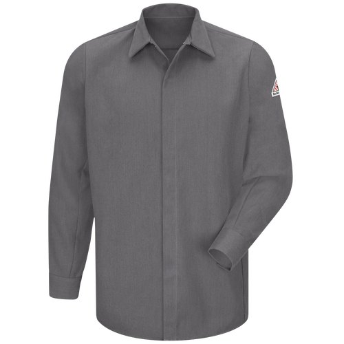Men's Midweight FR Pocketless Concealed-Gripper Work Shirt