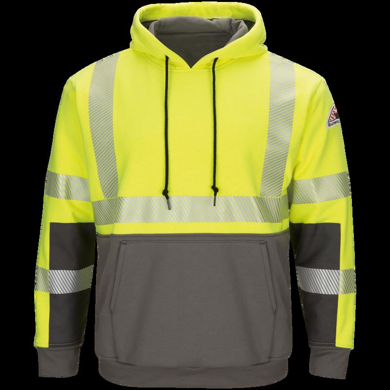 Men's Hi-Visibility Color Block Pullover Fleece Sweatshirt