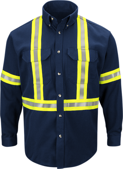 Men's Midweight FR Enhanced Visibility Uniform Shirt with Reflective Trim