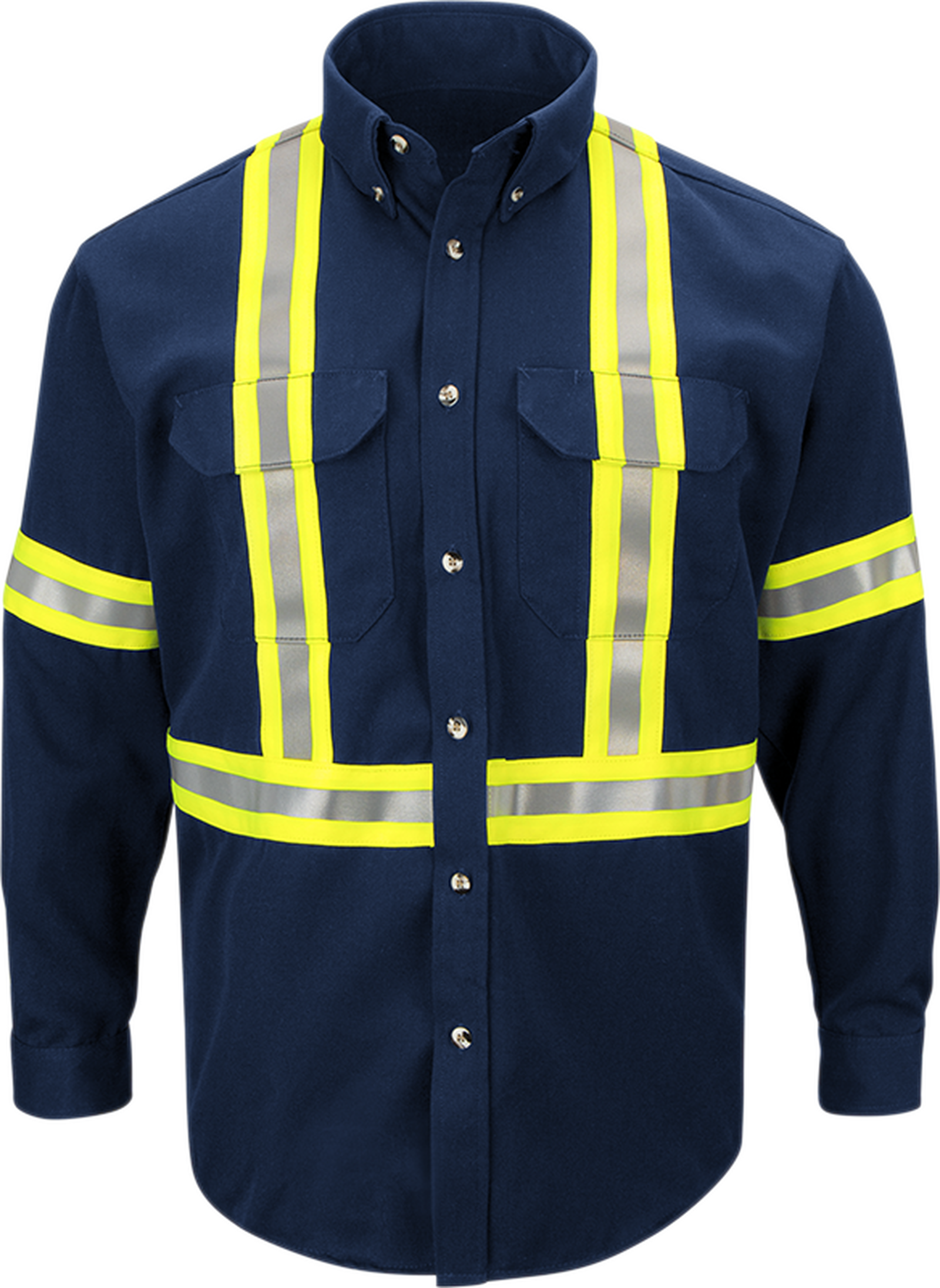 Men's Midweight FR Enhanced Visibility Uniform Shirt with Reflective Trim