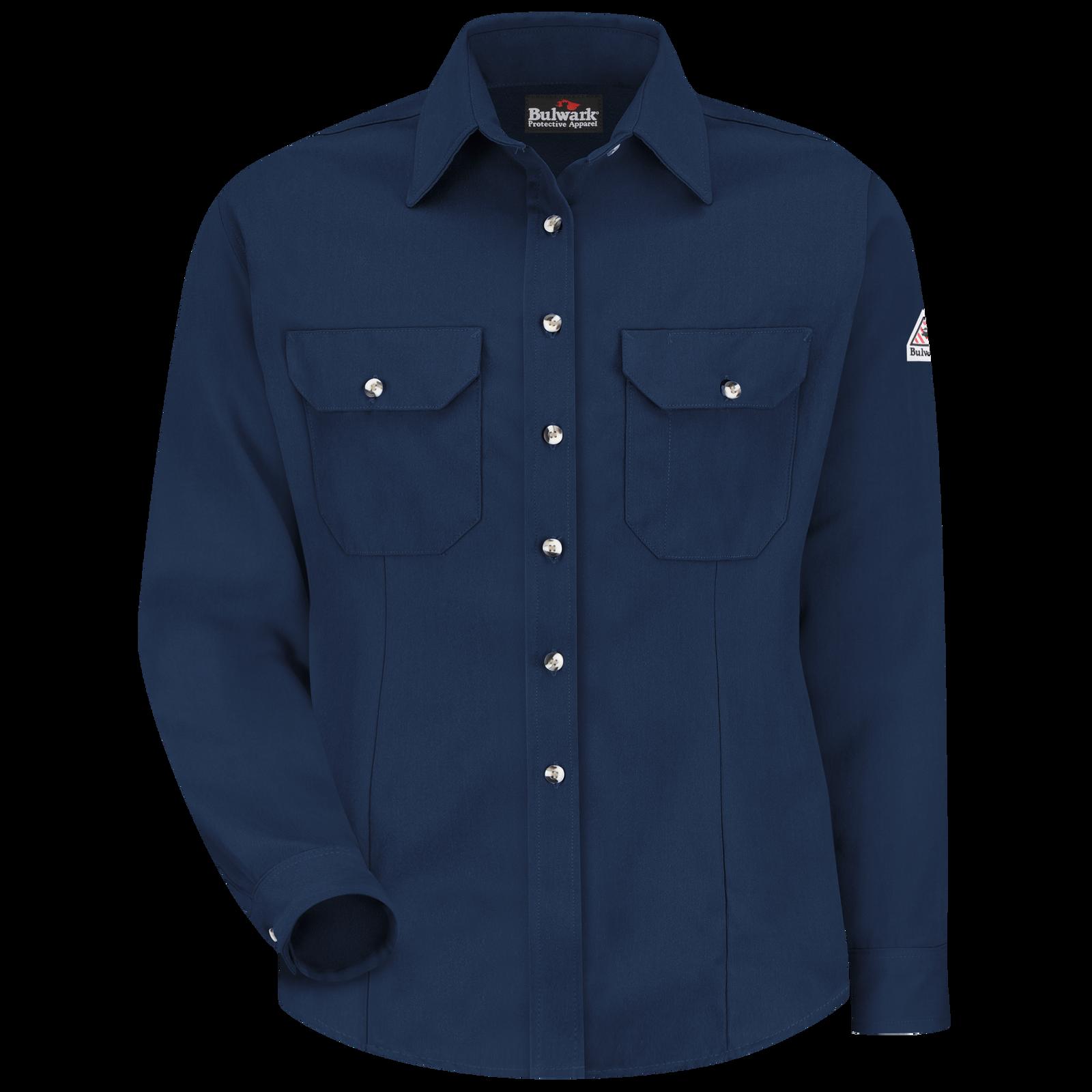 NWT Bulwark FR 2112 Women/'s Medium Button Up Shirt Blue IQ Series Qs31lb