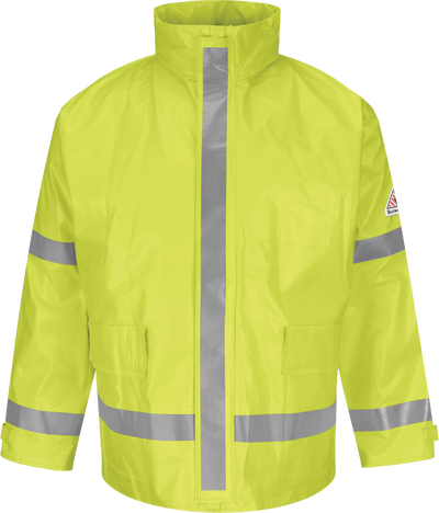 Men's FR Hi-Visibility Rain Jacket with Hood