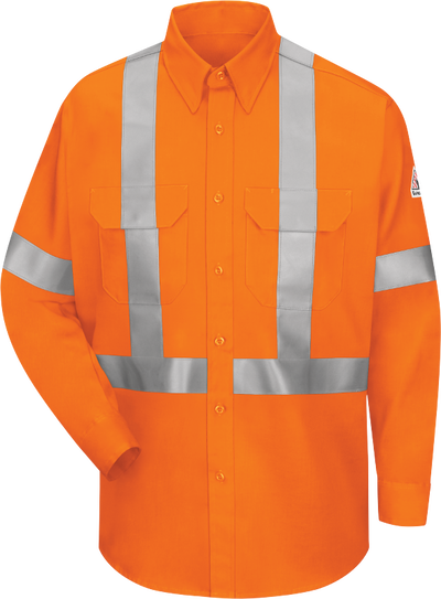 Men's Lightweight FR Enhanced Visibility Uniform Shirt with Reflective Trim